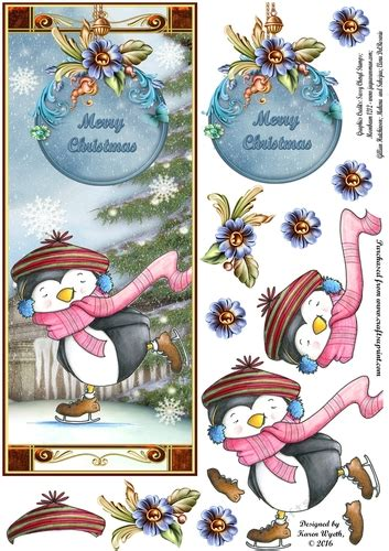 penguin gliding christmas dl cup craftsuprint