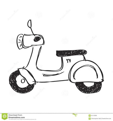 doodle motor simple doodle of a scooter stock illustration image of