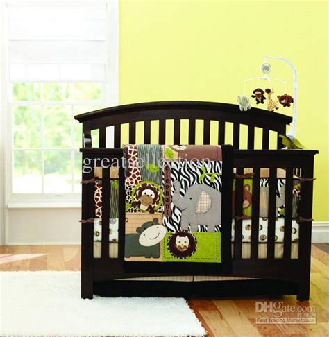 Baby Boy Cribs Bedding Sets New 7pcs Embroidered 3d Animals World Brown Color Boy Baby Cot Crib Bedding Set Kit Comforter