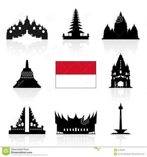 indonesia design vector indonesia travel icons stock vector image 57466286