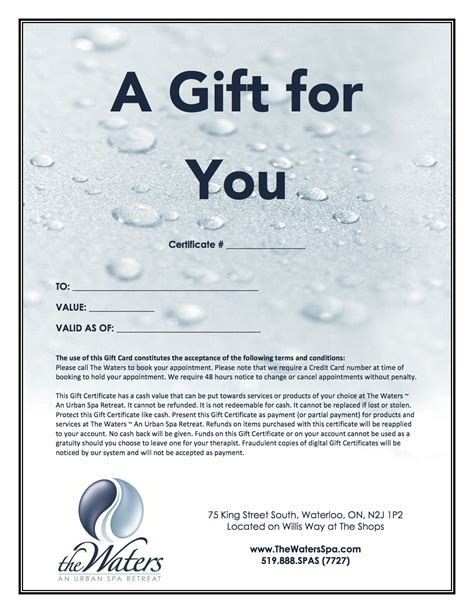 email gift certificate template email gift certificate the waters spa