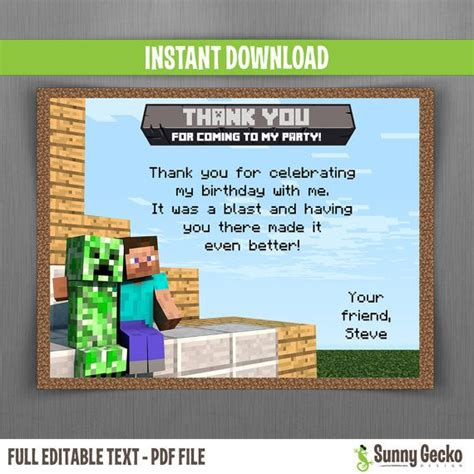 Minecraft Birthday Card Template by Minecraft Editable Birthday Thank You Cards Instant