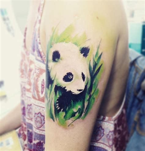 realistic panda arm tattoo best tattoo design ideas