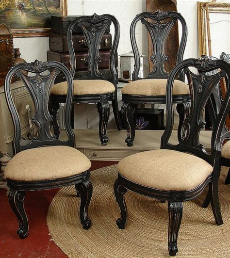 bernhardt dining room table and chairs vintage reclaimed black paint distressed burlap bernhardt