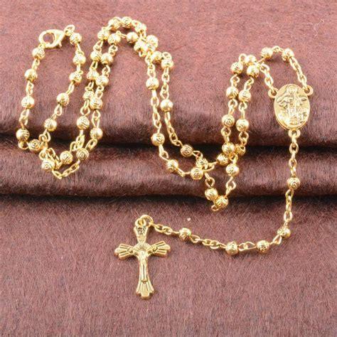 Rosario Necklace Gold wholesale fashion s 18 k gold rosary necklaces zinc