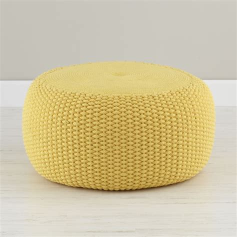 pouf chair yellow braided pouf the land of nod