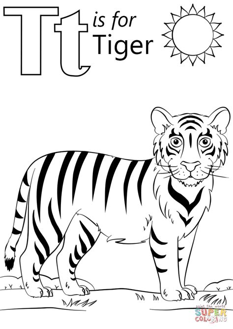 tiger color t is for tiger coloring page free printable coloring pages
