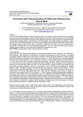 Research Papers On Chitin Degrading Enzymes by Extraction And Characterisation Of Chitin And Chitosan From Mussel Shell By Decker Issuu