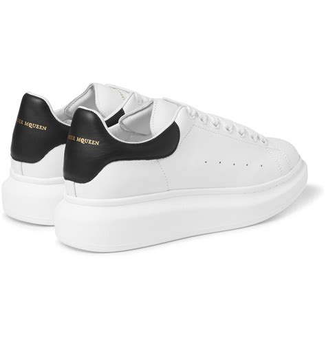 mcqueen sneakers lyst mcqueen leather sneakers in white for
