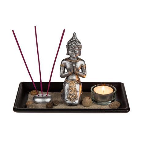 deko teelichthalter deko set buddha mit zubeh 246 r auf holz tablett