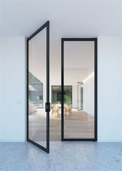 Double Glass Pivoting Door With Quot Steel Look Quot Frames Glass Pivot Door