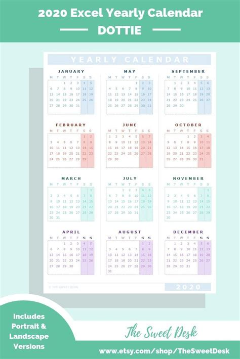 editable  excel yearly calendar template printable modern annual wall calendar monday