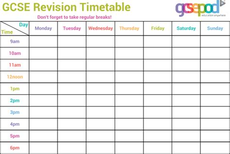 revision template gcse revision timetable template for free