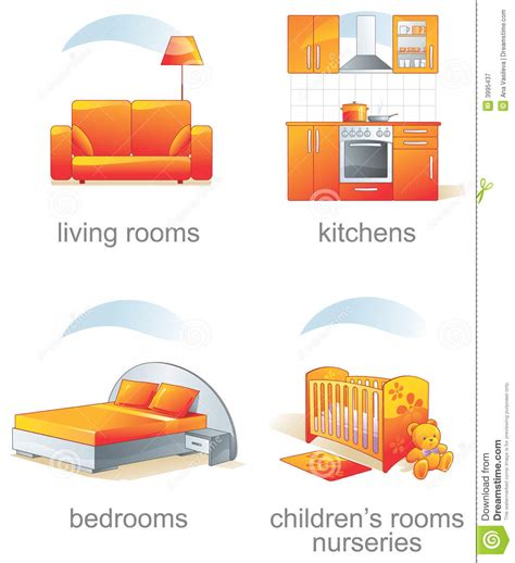 icon set home furniture item royalty free stock