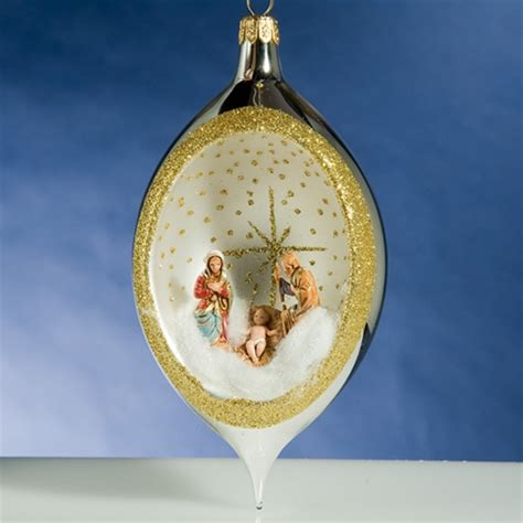 de carlini silver drop nativity christmas ornament the