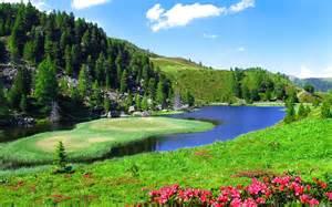 Spring Landscape Spring Landscape Slope Sky Nature River 2560x1600 Hd Wallpaper 79035