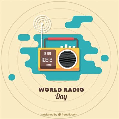 radio background radio world day background in flat design vector free