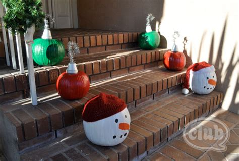 pumpkins decorated for christmas recycle fall pumpkins into festive decor with painted orname