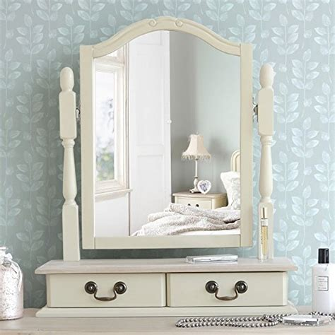 juliette shabby chic chagne trinket mirror cream dressing table mirror with 2 drawers
