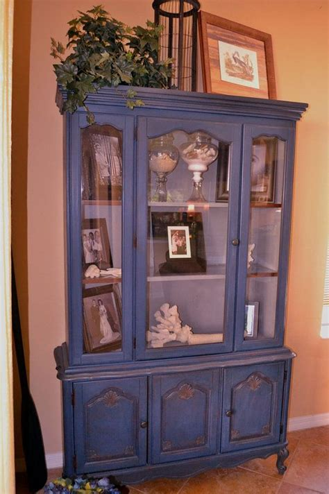 Annie Sloan Chalk Painted China Cabinet Beachy Blue With Painted China Cabinet Ideas