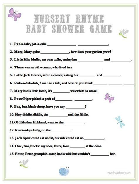 printable baby shower games uk baby shower games nursery rhyme baby shower games