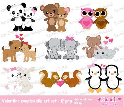 animal valentines animals couples clip set personal