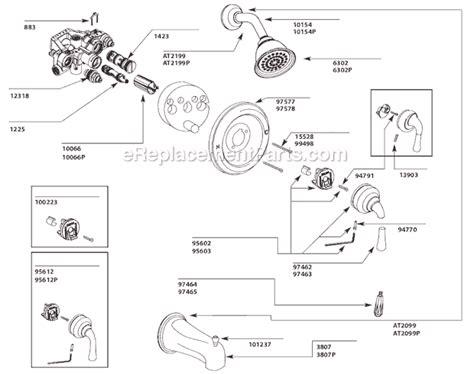 Kohler Kitchen Faucet Repair Parts moen t3124cp parts list and diagram ereplacementparts com