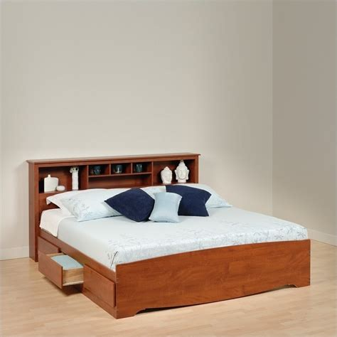 Platform Storage Bed King Prepac Monterey Cherry King Platform Storage Bed Ebay