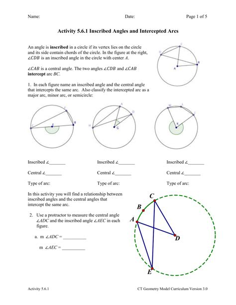 Inscribed Angles Worksheet Answers by Central And Inscribed Angles Worksheet Photos Getadating