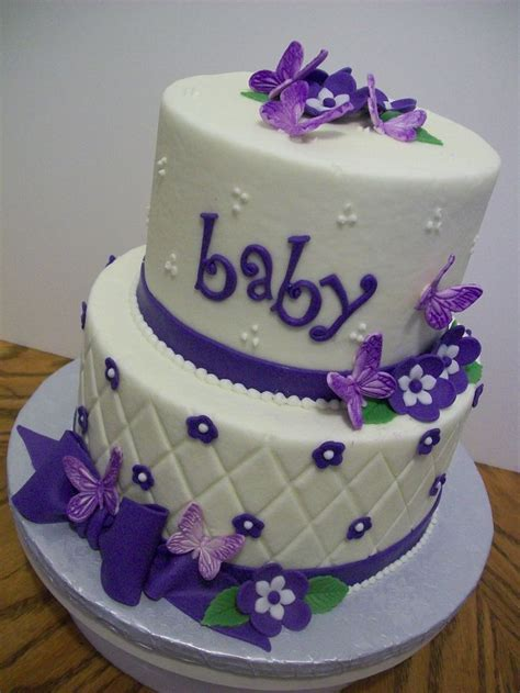 Purple Butterflies   6 and 8 inch tiers iced in