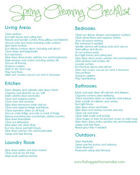 spring cleaning checklist free spring cleaning printable checklist the happier