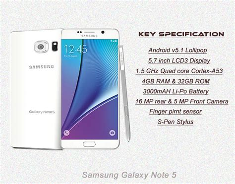 samsung galaxy note 5 specs price in bangladesh android mobile price