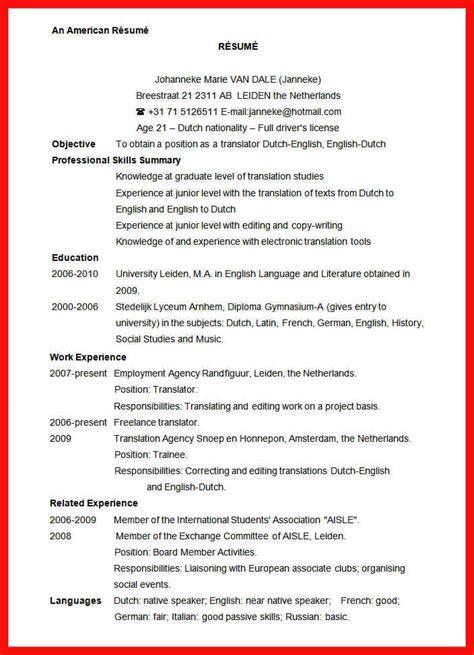 American Resume Format Sle by Us Standard Resume Sle Apa Exle