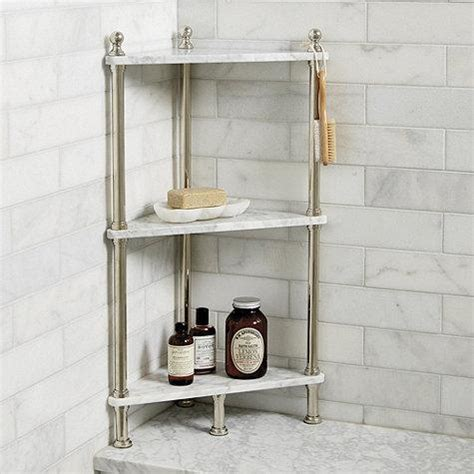 white marble corner bath shelf