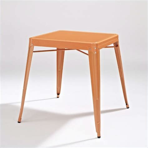 Cafe Style Dining Table Mid Century Cafe Style Metal Dining Table In Orange Fastfurnishings