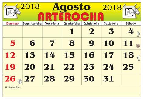 Calendario 2018 Agosto Arterocha Calend 193 Mes De Agosto 2018
