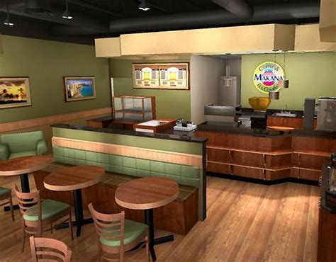 virtual coffee shop design green interior color with round wooden table for elegant