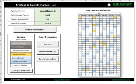 Calendrier 2016 Vierge Exel Calendrier Annuel 2016 Pour Excel Excel Malin