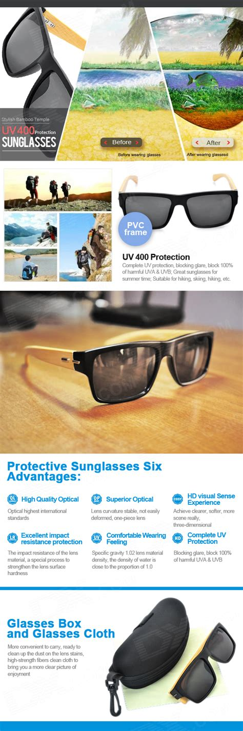 Kacamata Hitam Motif Kayu Bambu bergaya dengan kacamata hitam dengan uv candi bambu 400 perlindungan hitam kayu lazada