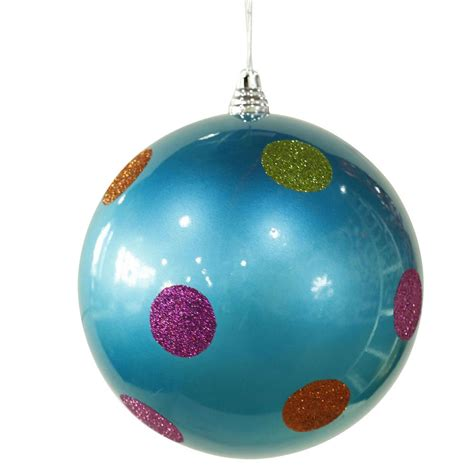 8 inch polka dot christmas ball ornament turquoise