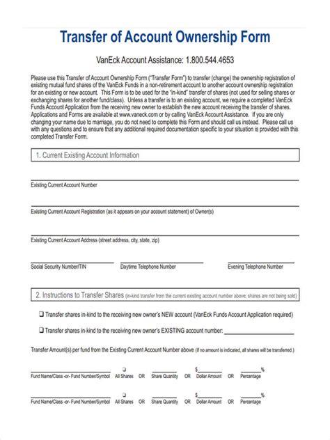 ownership transfer form samples sample