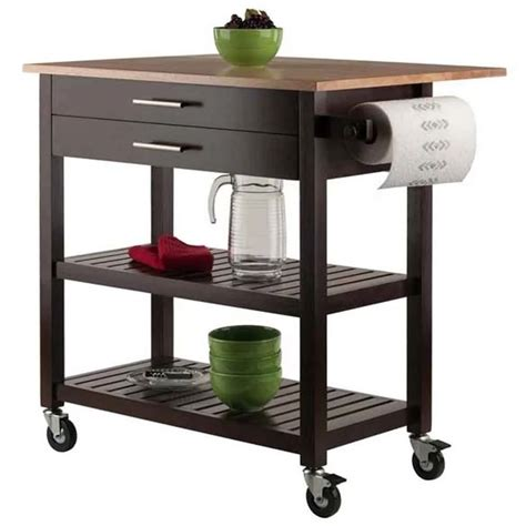 winsome wood kitchen cart natural - 2kitchennew.