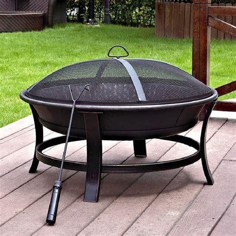 jeco 30-In w black gold steel wood-Burning fire pit.