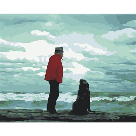 promotion dog people art home handmade oil wall on canvas .