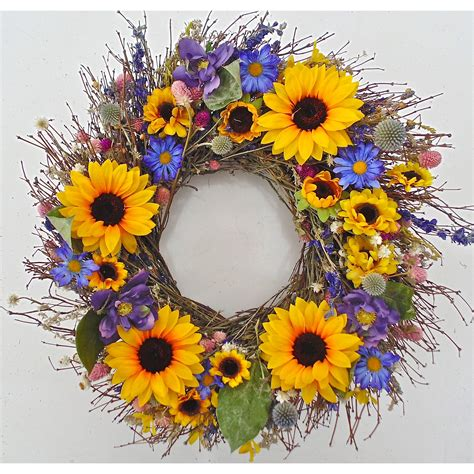 22 sunflower bouquet wreath by dried flowers and wreaths .