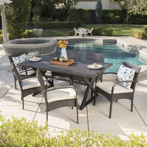 breakwater bay neville 7 piece dining set with cushions .