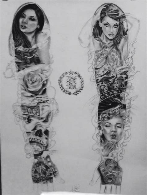 @  Chicano Gangsta Sleeve Design Drawing Practice  Female .