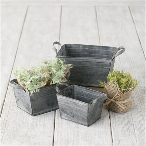 galvanized 3 piece planter box set set of 3 by .