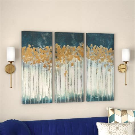 midnight forest gel coat canvas wall art with gold foil .