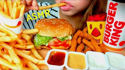 [click] No Talking Asmr Burger King Whopper Mukbang    French Fries  Chicken Fries.